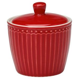 Stoneware Sugar pot Alice red