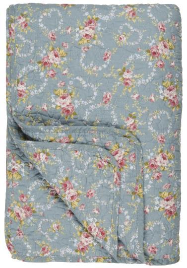 Quilt hellblau mit Blumenmuster