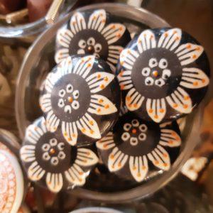 Knopf - Schwarz große Blume