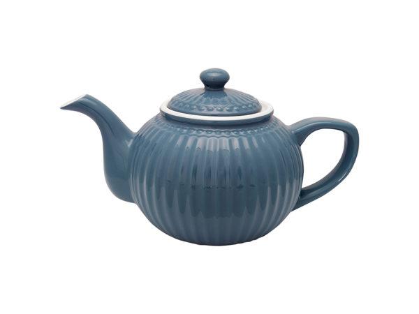 Stoneware Teapot Alice ocean blue