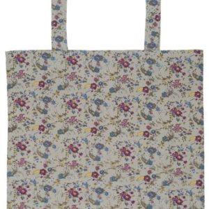 Einkaufstasche grau m/Blumen