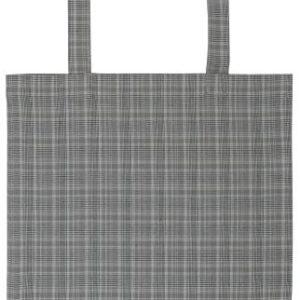 Einkaufstasche grau m/Karomuster