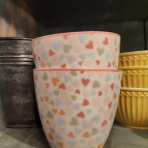 Stoneware Latte cup Love pastel mix