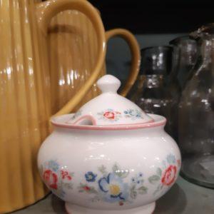 Stoneware Sugar pot round Henrietta white