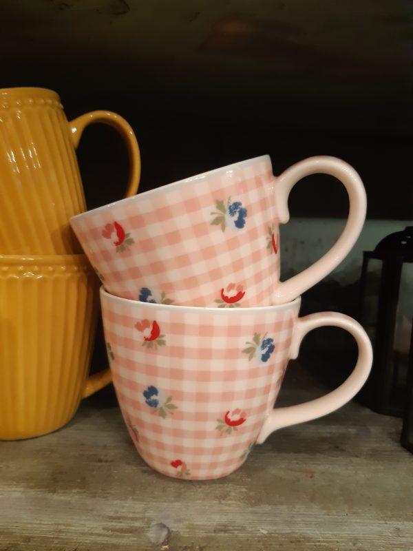 Stoneware Mug Viola check pale pink