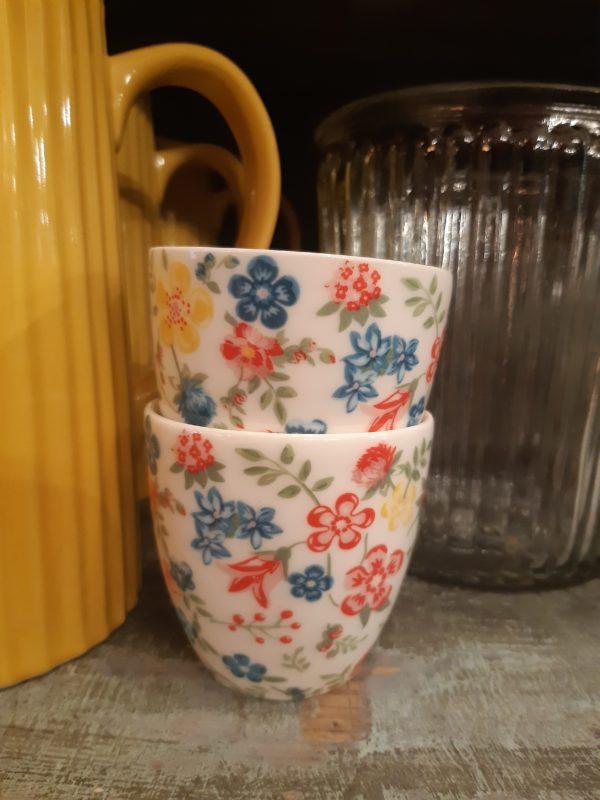 Stoneware Mini latte cup Sophia white