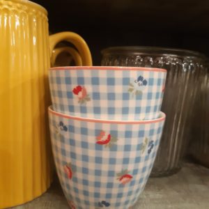 Stoneware Latte cup Viola check pale blue