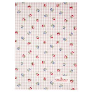 Cotton Tea towel Viola check pale pink