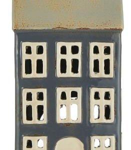 Haus für Teelicht - beiges Dach 1 Schornstein