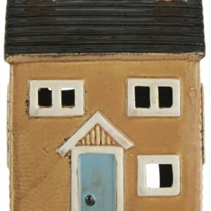 Haus für Teelicht - gelb mit blauer Tür
