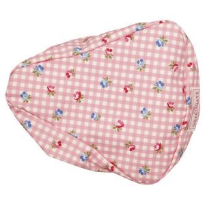 Oilcloth Bike seat cover Viola check pale pink