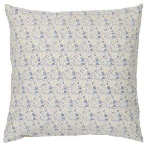Kissenbezug beige mit kleinen blauen Blumen