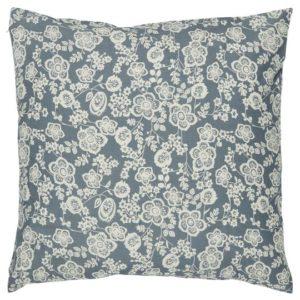 Kissenbezug blau mit cremefarbenen Blumen