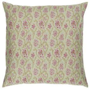 Kissenbezug olivengrün mit himbeerfarbigen Blumen- 50x50