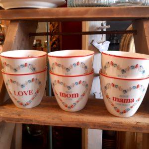 Stoneware Latte cup Mama white