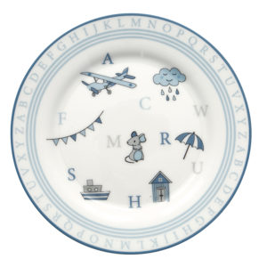 Stoneware Kids plate Charlie blue