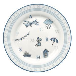 Stoneware Kids plate Charlie blue