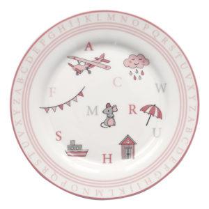 Stoneware Kids plate Charlie pink