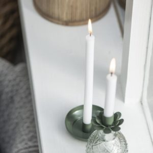 Kerzenhalter f/dünne Kerze olivengrün